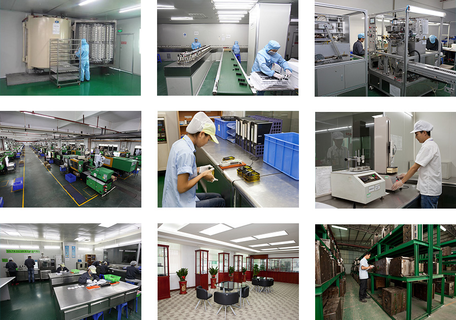 电镀车间1Spray&Metallization 电镀喷涂线Spray&Metallization 自动印刷Automatic Printing 注塑车间一角Injection plant 品质测试1Quality Inspection 品质部门Quality Inspection 样品展览室Samples showroom 模具仓库Mold warehouse